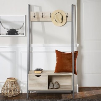 Manor Park Urban Industrial Metal and Wood Hall Tree with Coat Rack and Bench - White Oak