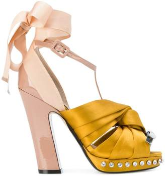 satin twisted knot sandals