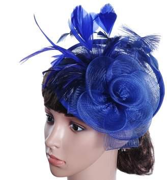 efc16866a7d ShiningLove Lady Fascinators Fashion Elegant Flower Feather Hair Clip Cocktail  Party Headwear