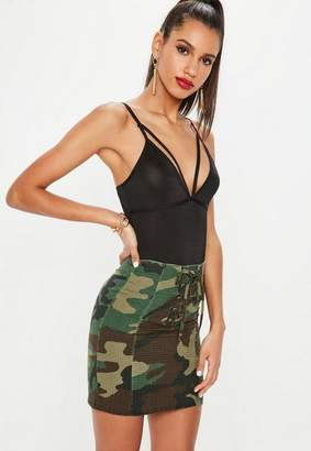 Missguided Khaki Lace Up Front Camo Mini Skirt