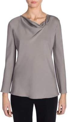 Giorgio Armani Long-Sleeve Drape Neck Silk Top