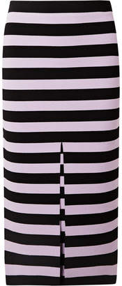 Proenza Schouler Striped Stretch-knit Midi Skirt - Black