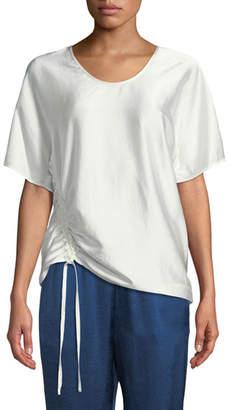 Alexander Wang Asymmetric Drape Short-Sleeve Top
