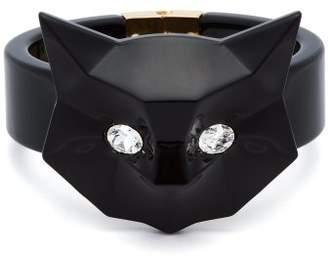 Miu Miu Cat Crystal Embellished Plexiglass Cuff - Womens - Black