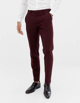 Asos Design DESIGN wedding skinny suit pants in burgundy wool mix herringbone