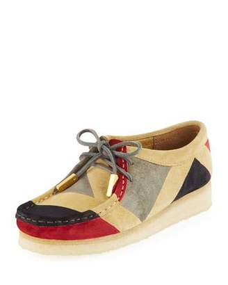 Sycamore Style Women's Geometric Suede Moc Wallabee Shoe, Red/Gray/Black