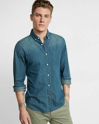 Express Slim Soft Wash Button-Down Denim Shirt