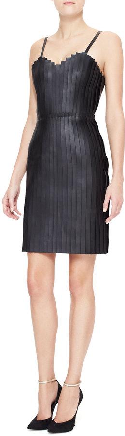 Alexander Wang Accordion-Pleated Leather Dress, Black