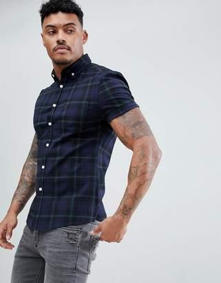 Asos Design Skinny Stretch Twill Check Shirt In Navy