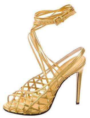 Emilio Pucci Metallic Multistrap Sandals w/ Tags
