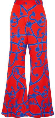 Ellery Speed Of Light Printed Silk-blend Flared Pants - UK12