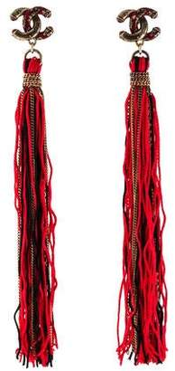 Chanel Enamel Tassel Clip-On Earrings