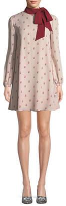 Valentino Long-Sleeve Rosebud Silk Georgette Dress w/ Scarf