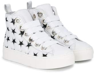 No.21 Kids lace-up high-top sneakers