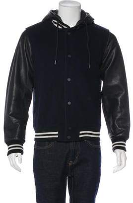 Marc by Marc Jacobs Leather-Trimmed Wool Bomber Jacket