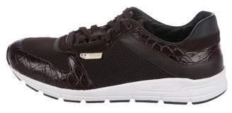 Gucci Crocodile-Trimmed Mesh Sneakers