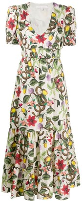 Borgo de Nor Lucia tropical print flared dress