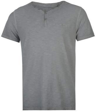 Pierre Cardin Mens 100% Cotton Acid Wash Signature Embroidery Henley T-Shirt (XL, )