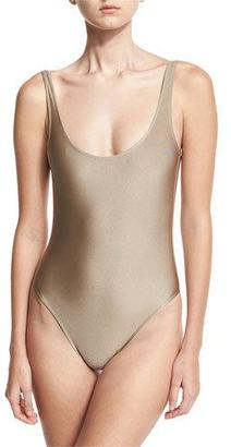Marie France Van Damme Classic Solid One-Piece Swimsuit, Nude $309 thestylecure.com