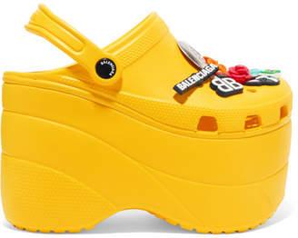 Balenciaga Crocs Embellished Rubber Platform Sandals - Yellow