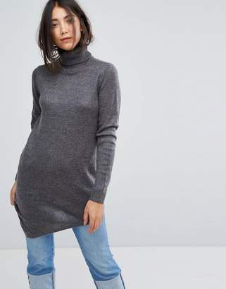 Vila Roll Neck Tunic Sweater