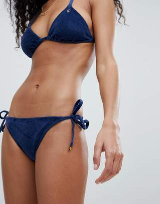 Juicy Couture Velvet Tie Side Bikini Bottoms With Logo Back