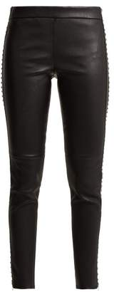 Alexander McQueen Stretch Leather Leggings With Stud Detail - Womens - Black