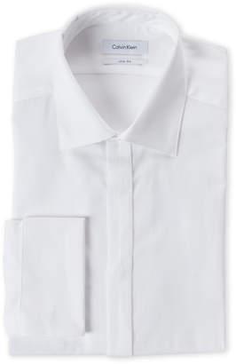 Calvin Klein White Pique French Cuff Slim Fit Dress Shirt