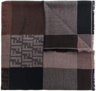 Fendi colour block patch shawl scarf