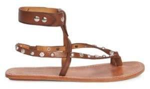Isabel Marant Women's Engo Studded Gladiator Sandals - Brown - Size 38 (8)