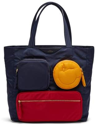 Anya Hindmarch Chubby Wink Twill Tote Bag - Womens - Navy Multi