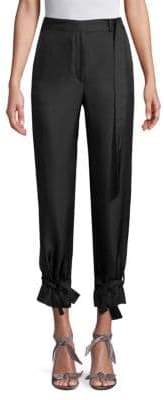 Robert Rodriguez Ruffled-Hem Slim Silk Pants
