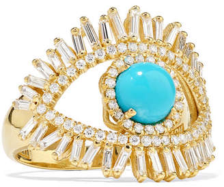 Suzanne Kalan 18-karat Gold, Diamond And Turquoise Ring