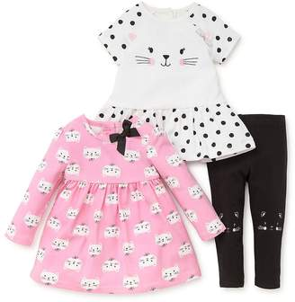 Little Me Baby Girl's Three-Piece Cat Face Short-Sleeve Dress, Printed Long-Sleeve Dress and Leggings Set