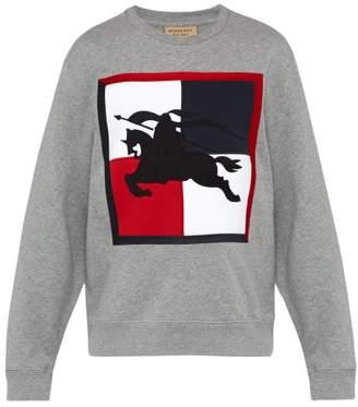 Burberry Logo Embroidered Cotton Sweatshirt - Mens - Grey