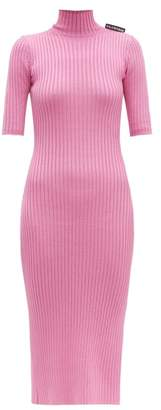 Balenciaga Stretch Knit High Neck Dress - Womens - Pink