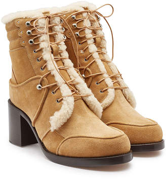 Tabitha Simmons Leo Suede Ankle Boots with Leather and Shearling Inside