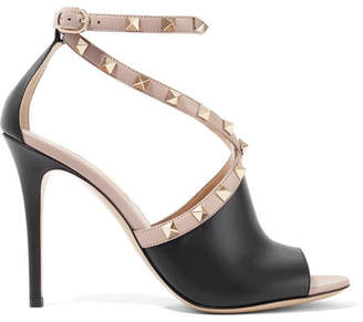 Valentino Garavani The Rockstud Two-tone Leather Sandals - Black