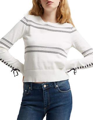 French Connection Skye Knit Stripe Ribbon Cotton Sweater