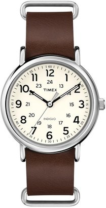 TIMEX Weekender Leather $50 thestylecure.com