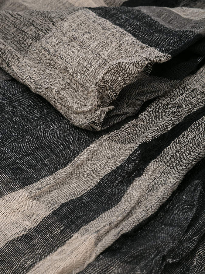 Y's fringed check scarf