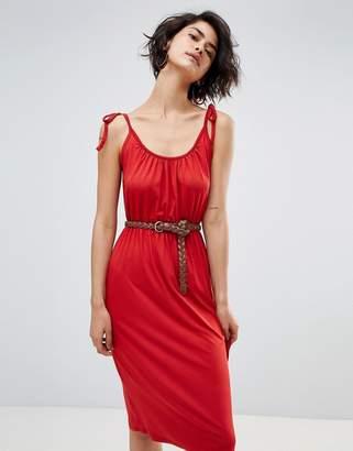 Warehouse Tie Shoulder Cami Midi Dress