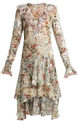 Preen by Thornton Bregazzi Doris floral-print silk-blend devoré dress