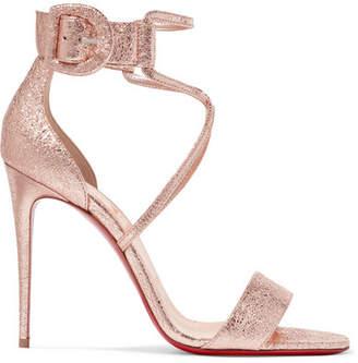Christian Louboutin Choca 100 Metallic Cracked-leather Sandals - Gold