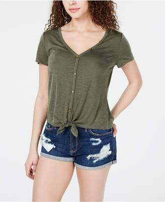 69d83528fae30 Almost Famous Crave Fame Juniors  Knot-Front Button-Trimmed Top
