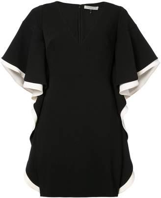 Halston ruffled wide sleeve mini dress