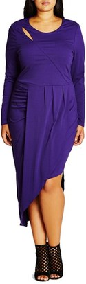 Plus Size Women's City Chic 'Wrapped Up' Asymmetrical Jersey Dress $99 thestylecure.com