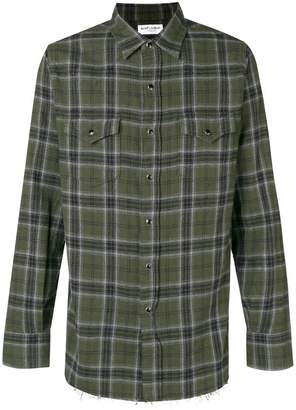 Saint Laurent plaid raw hem shirt