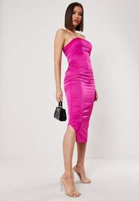 Missguided Tall Purple Cross Back Satin Slip Dress