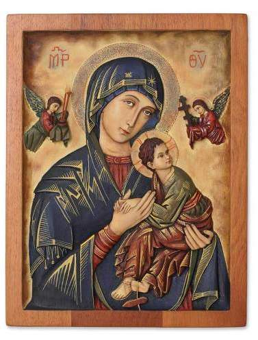 Our Lady of Perpetual Help Religious Cedar Wood Relief Wall Panel